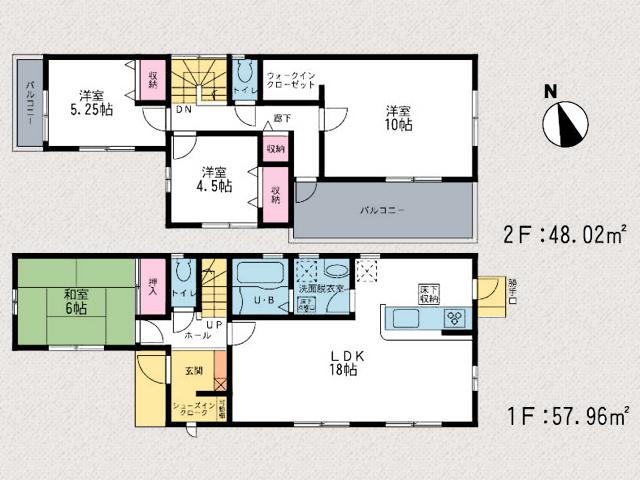 間取り北九州市小倉北区上富野 家の裏側に広ーい専用庭スペース!