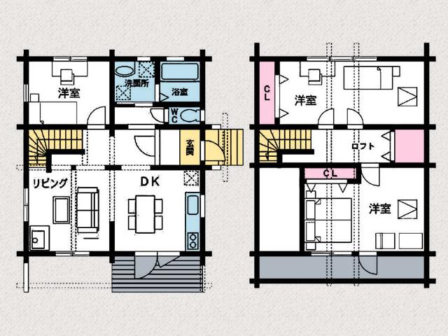 部屋・収納複数あり、メインのホームとしても十分!行橋市泉中央【築後未入居】別荘にもピッタリなログハウス