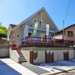 専用庭スペースも広いです北九州市八幡西区平尾町【築後未入居】水色の可愛いログハウス