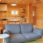 おしゃれな収納棚もついています北九州市八幡西区平尾町【築後未入居】水色の可愛いログハウス