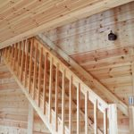 階段も全て木製です北九州市八幡西区平尾町【築後未入居】水色の可愛いログハウス