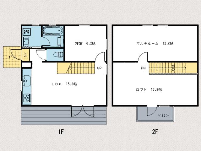 部屋数が少なく、掃除もし易い間取りです。北九州市八幡西区平尾町【築後未入居】水色の可愛いログハウス