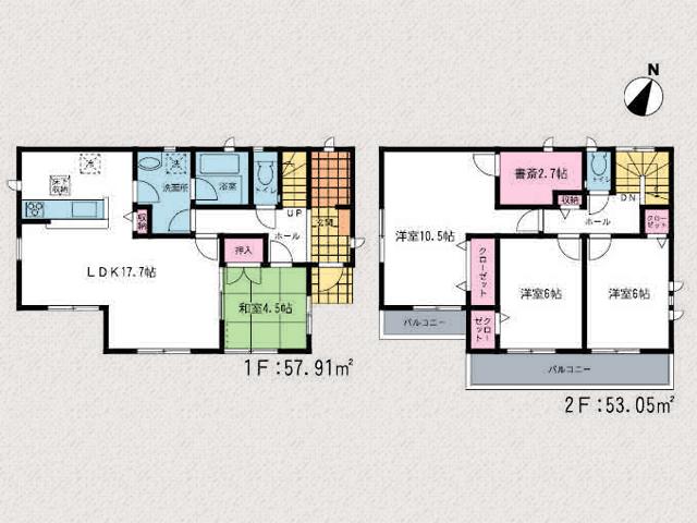 寝室は10帖以上+書斎あります!北九州市小倉北区泉台 17帖リビング、玄関収納、書斎など…おすすめ物件です!