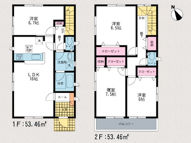1階キッチン裏に洋室あり!玄関すぐリビングです。北九州市小倉北区上到津|1階に6帖以上の洋室あり