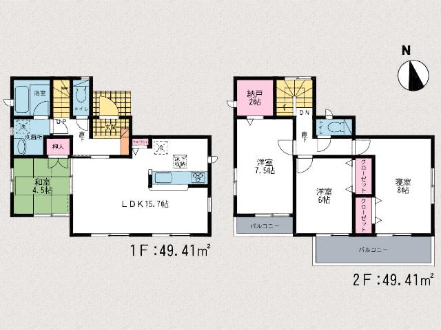 6帖以上の洋室!一部屋には納戸があります!北九州市門司区吉志|全部屋からベランダへ出ることができます!