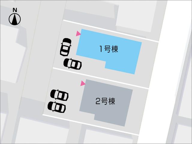 住宅前にL字で2台駐車可能です!北九州市小倉北区高坊|スペース独占!キッチン専用エリア!