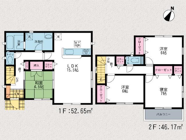 和室は廊下・リビングどちらからも出入り可能です!北九州市小倉南区朽網東 各個室は6帖以上あって広々間取り!