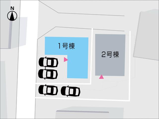 並列2台駐車で出入りの便利な駐車場です。北九州市小倉南区中曽根東|各部屋二面光彩の角地物件です。