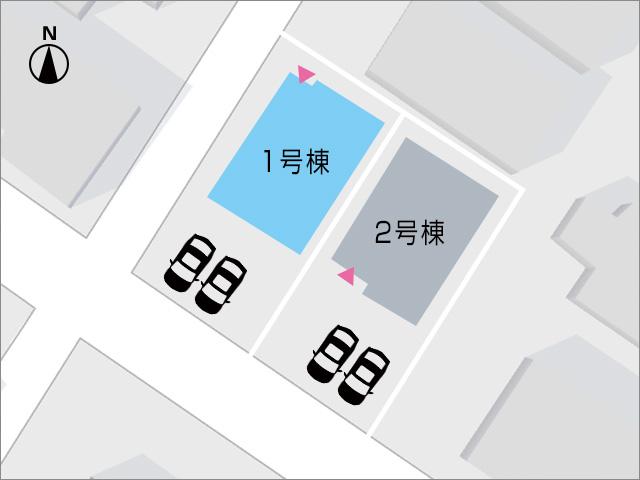 車種によっては3台可能の駐車場スペース。北九州市小倉南区若園|玄関からキッチンが近いママの味方!