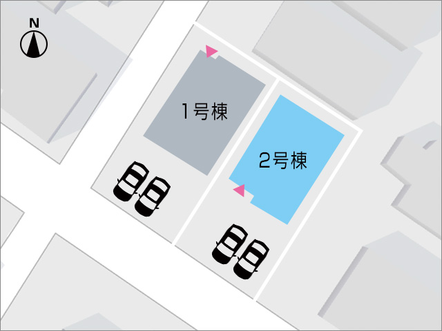 車種によっては3台まで駐車が可能です。北九州市小倉南区若園|16帖広々リビング!南向きで日当り良好です。