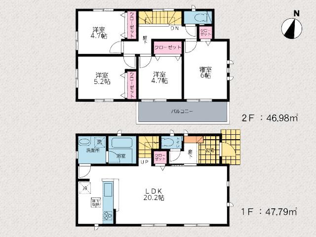 北九州市小倉南区中曽根|リビング広々20帖以上!2階洋室4部屋あり。