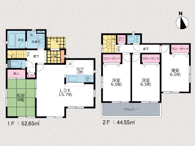 全室6帖以上!和室も広々空間です。小倉南区沼新町【駐車場4台】高台の閑静な住宅地です