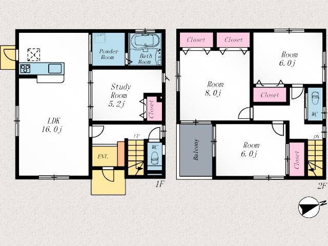 個室もゆとりのある空間です北九州市八幡西区春日台|雨知らず!インナーバルコニーのあるお家