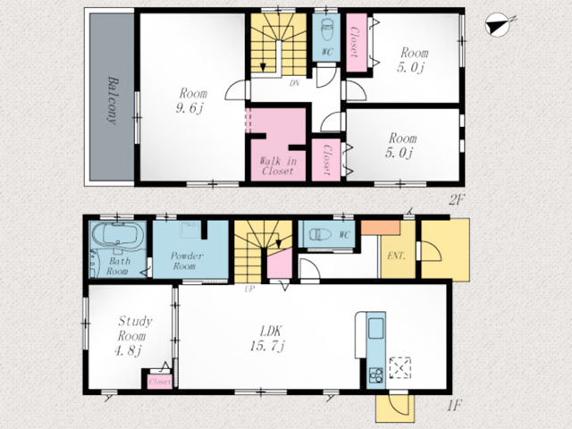 階段下の収納スペースが便利!北九州市小倉南区徳力新町|ベッドルーム💤は10帖弱❗❗WICも👕✨