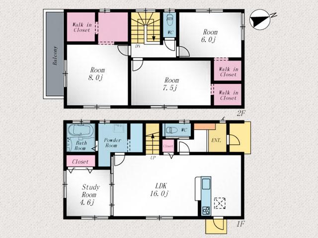 収納スペース多数で部屋も広く使えます。北九州市小倉南区徳力新町|2階全室6帖以上でウォークインクローゼットも!