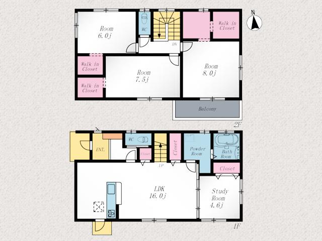 全室6帖以上でウォークインクローゼットつき北九州市門司区吉志|家正面に並列2台駐車可能!専用庭有り