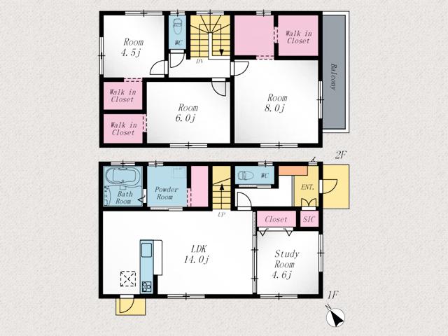 メインベッドルームは8帖!広いウォークインクローゼット付き北九州市小倉南区下貫|全室ウォークインクローゼット!収納たっぷりです