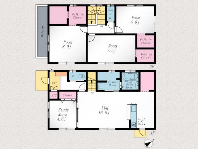 各部屋広々!リビングは16帖、2階は6帖以上洋室北九州市小倉南区朽網東|キッチン横にパントリーあります