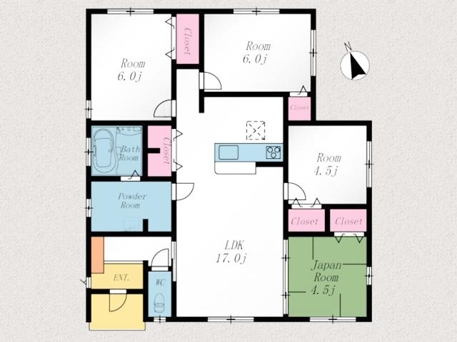 独立個室で17帖のリビングから全部屋アクセス可!北九州市門司区大里本町|4LDKで1階のみ!珍しい平屋の新築物件です。