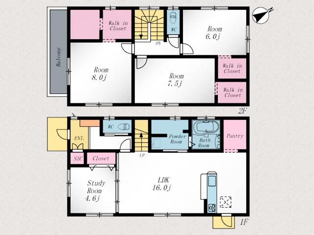 7.5帖以上の洋室が二部屋あります!北九州市小倉北区篠崎|キッチンにパントリーあり!キッチン・リビング収納にゆとりができます。