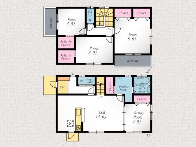 バルコニー2箇所あります!北九州市八幡西区三ツ頭 8帖分の広い寝室にはクローゼット2ケあり