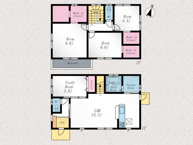 2階洋室はウォークインクローゼットつき!北九州市八幡西区高江 遠賀川近隣ののどかな住宅街です