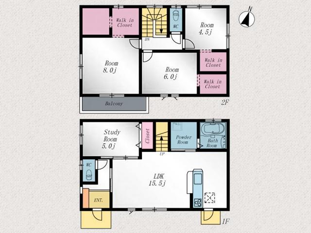 2階全室ウォークインクローゼットあり!行橋市行事|人気の角地!駐車スペース広めです!