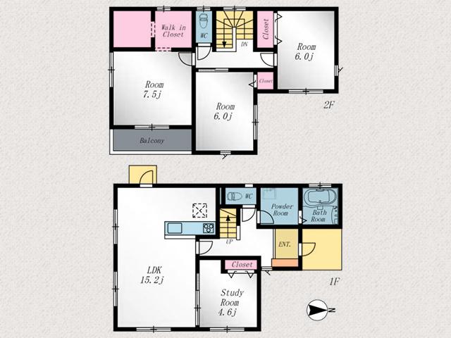 2階洋室は6帖でプライベート空間も充実!行橋市北泉|キッチンスペース拡大自由なスペース!