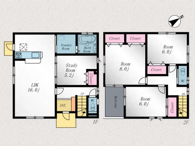 寝室はクローゼット2箇所で二人部屋にもぴったり!北九州市若松区白山|16帖リビングに6帖以上が3部屋!