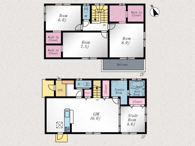 リビングにクローゼット2箇所あります!北九州市若松区白山|7帖以上の洋室が二部屋!