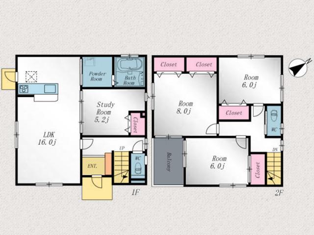個室も広く6帖以上の洋室が3部屋以上!北九州市若松区波打町|スーパーなど近隣でお買い物が便利に