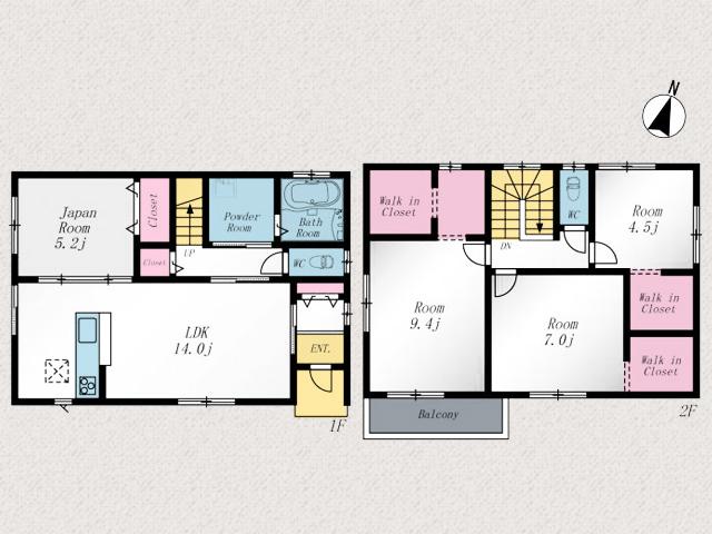 2階部屋にはウォークインクローゼットがついています北九州市八幡西区木屋瀬|メインベッドルームは9帖以上!WICとバルコニーつき
