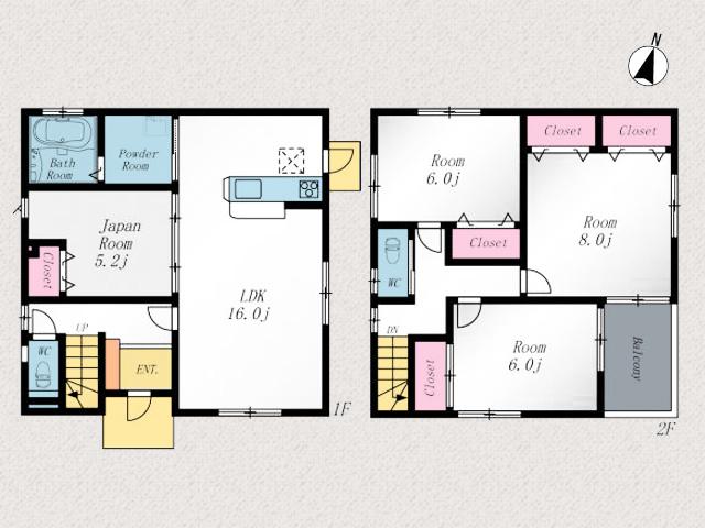 16帖の縦長で広いリビングです北九州市八幡西区木屋瀬|16帖リビング、8帖寝室など間取り広々