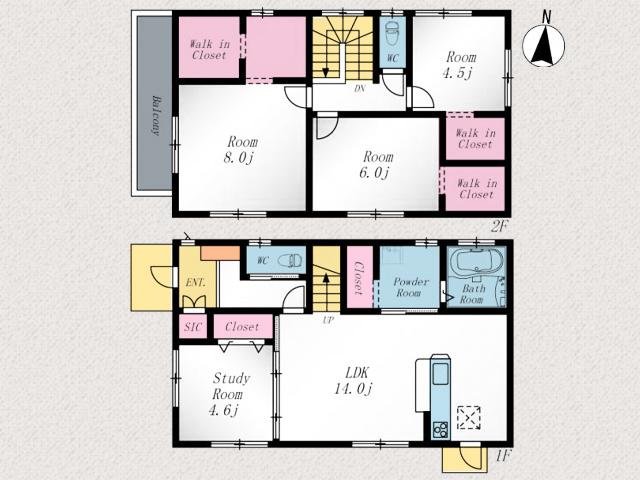 子供部屋の仕切りを外せばリビング18帖まで広がります!北九州市八幡西区折尾|収納スペース多数あり!シューズインクロークなどの玄関収納も