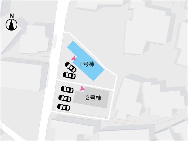 区画図北九州市小倉北区上富野 家の裏側に広ーい専用庭スペース!
