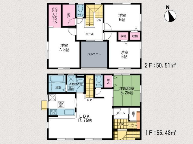 いつも家族の顔が見られるリビング階段です!北九州市小倉北区篠崎|2階共有部から出入り可能なセンターバルコニー