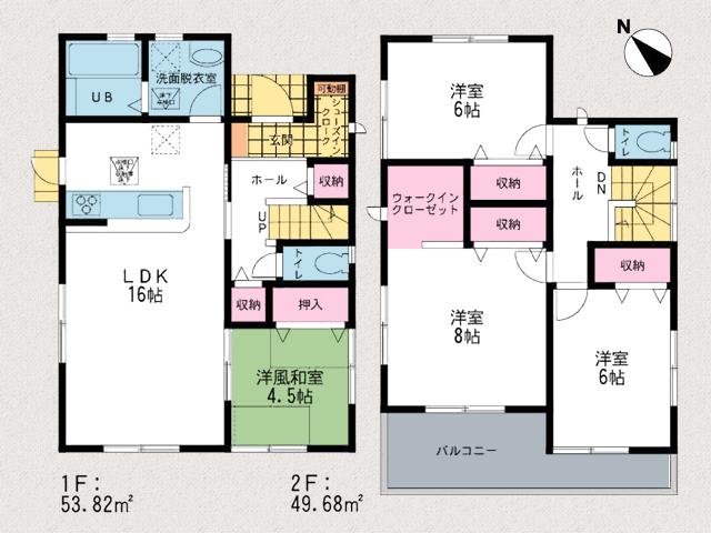 2帖分のウォークインクローゼットに1帖クローゼット付きの寝室あり北九州市小倉南区城野|専用庭付きでさらに駐車場は3台分!