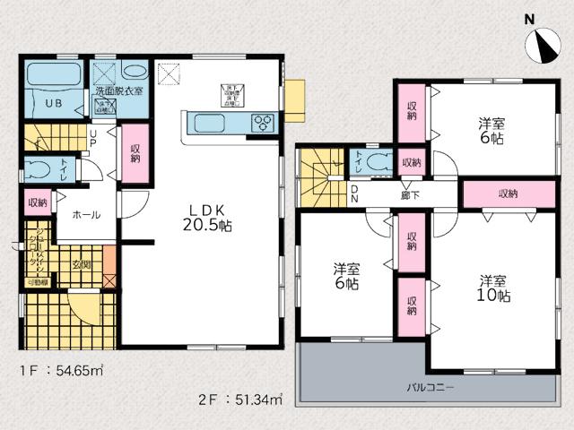 和室をなくしリビングを広げた間取りです。北九州市小倉南区葛原東|並列3台駐車可能、リビング広々20帖以上!