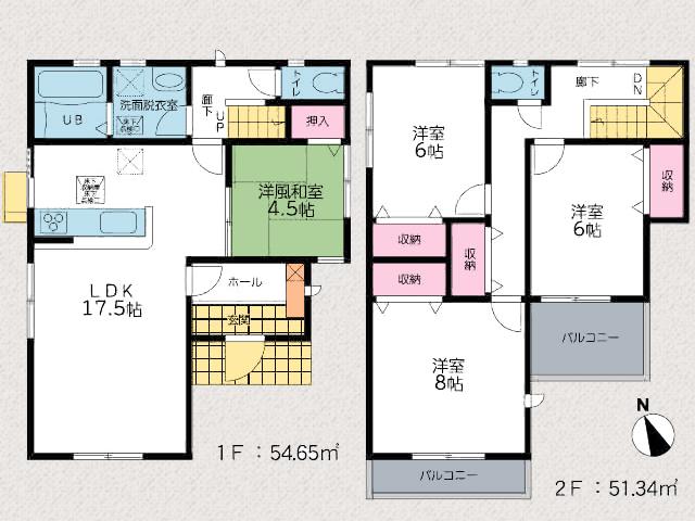 洋室6帖以上で最大8帖!全室クローゼットあり。北九州市小倉南区葛原東|17帖以上の広々リビング、バルコニー2箇所あり