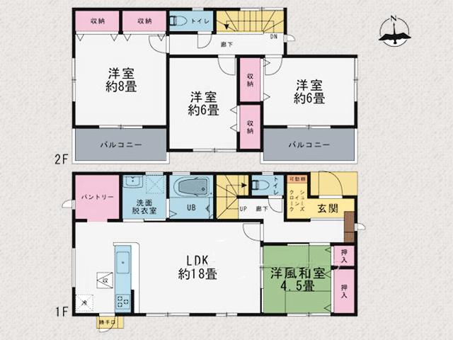 部屋も広く収納も十分にありゆったりとした空間の間取りです。北九州市小倉南区葛原東|LDKはなんと広々18帖でパントリーつき!