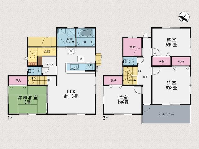 16帖リビングに6帖部屋、納戸もあり充実した広さです。北九州市小倉北区篠崎|広い間取りでこの価格!便利な篠崎エリア