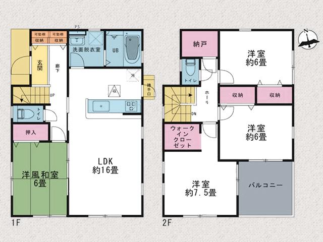 収納に便利な納戸・ウォークインクローゼットつき!北九州市小倉南区長尾|個室は全室6帖以上!納戸やWICもついております。