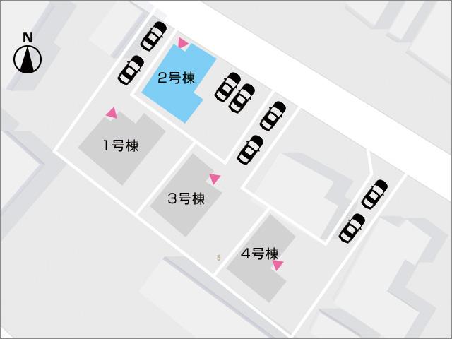 区画図京都郡苅田町若久町|並列2台駐車可能!十分な庭スペースもあり