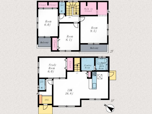 各部屋広々空間で開放的な生活を送れます北九州市八幡東区東鉄町|柵付きの専用庭と並列2台分の広い駐車場