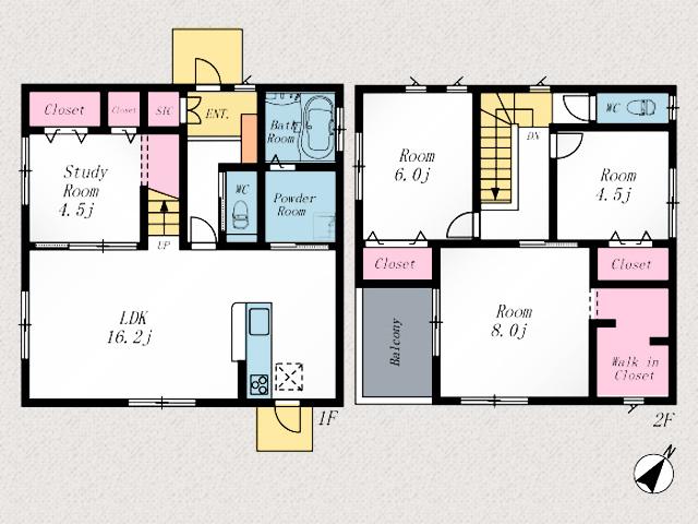 間取り京都郡苅田町与原|個室や物置として使いやすい間取りの1階子供部屋