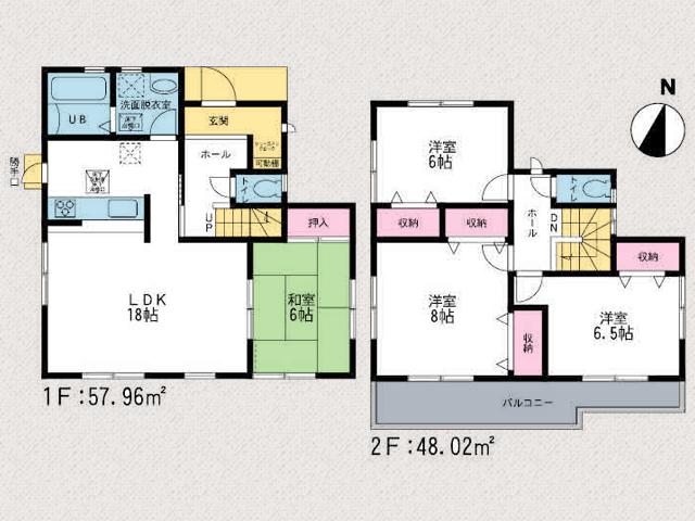 間取り北九州市行橋市金屋|広々18帖のリビング+8帖和室!