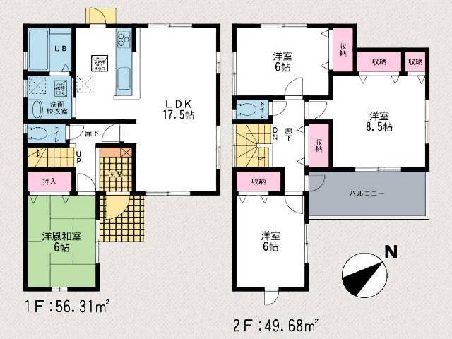 間取り北九州市八幡西区藤原|各部屋6帖以上の広いプライベート空間