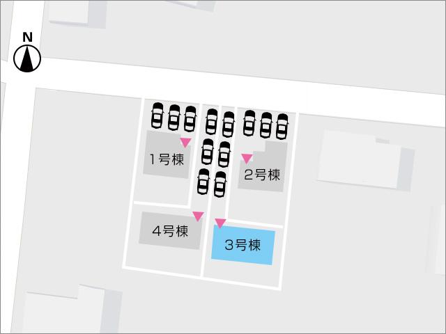 区画図京都郡苅田町富久町|並列3台駐車可能スペース有り