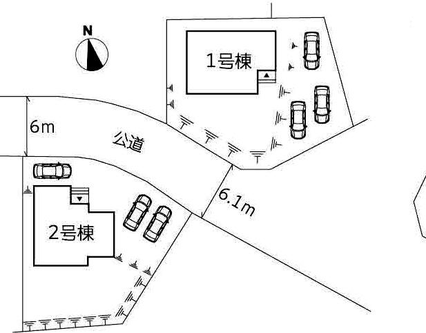 角地で停めやすい駐車場3台分の広いスペース!北九州市小倉南区沼新町1号棟【駐車場4台】【ラスト一棟】