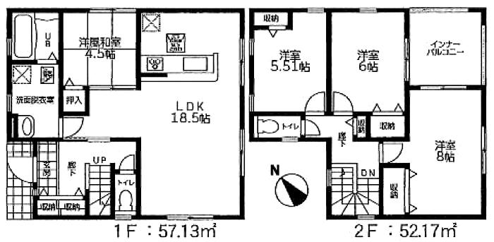 間取図小倉南区北方3丁目【2号棟】| 人気のインナーバルコニー【北方小・企救中】